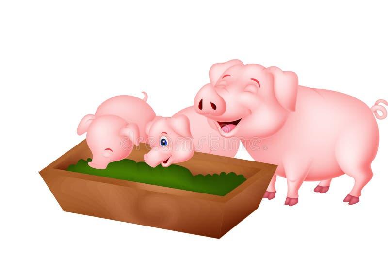 Familia feliz del cerdo de la granja libre illustration