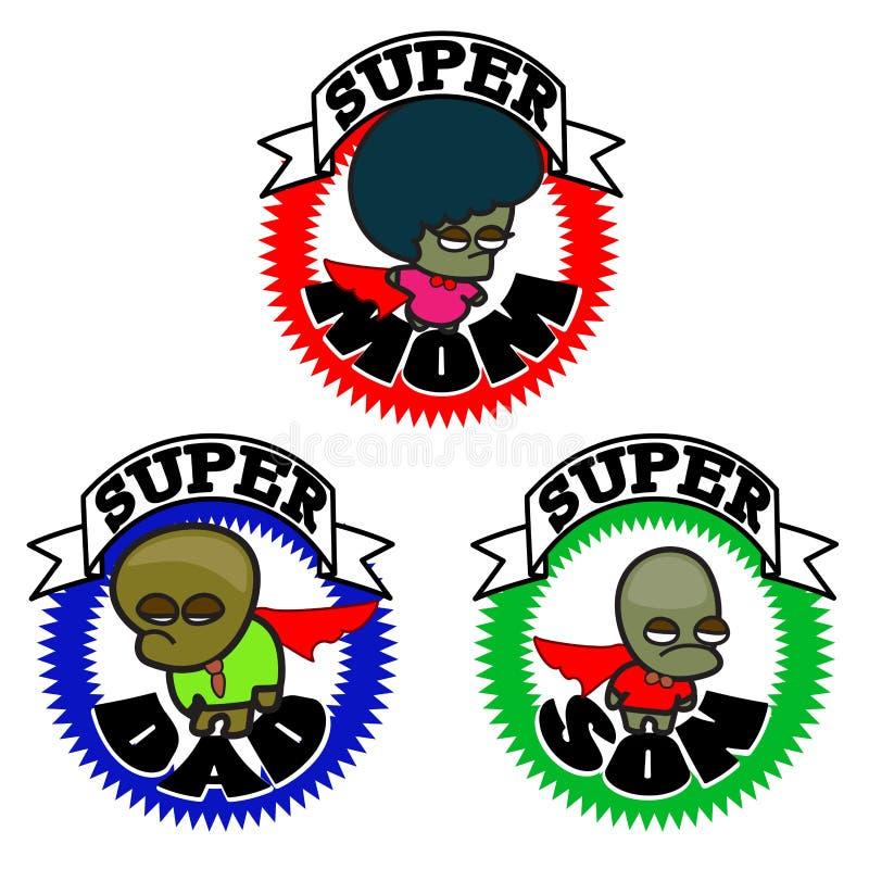 Familia feliz del superh?roe - icono gr?fico de la historieta ilustración del vector