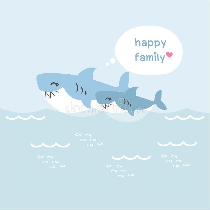 Familia feliz del tiburón Carácter animal lindo stock de ilustración