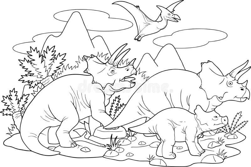 Familia feliz del Triceratops stock de ilustración