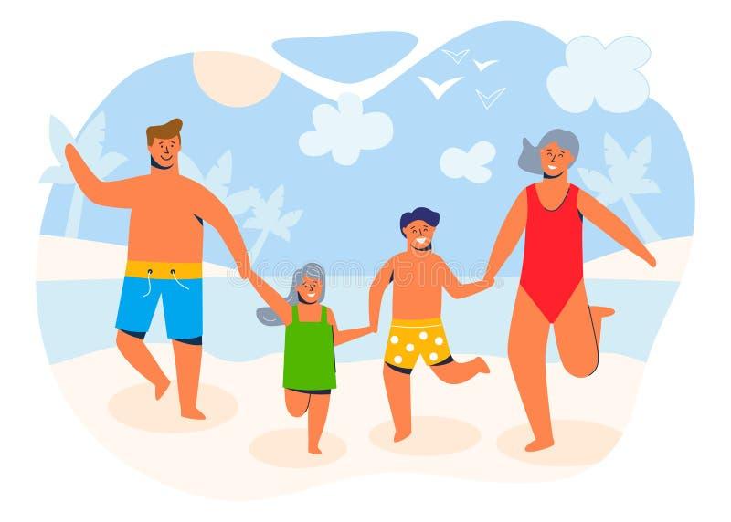 Familia feliz el las vacaciones de verano que van a la playa en una orilla arenosa Caracteres de los padres y de los niños stock de ilustración