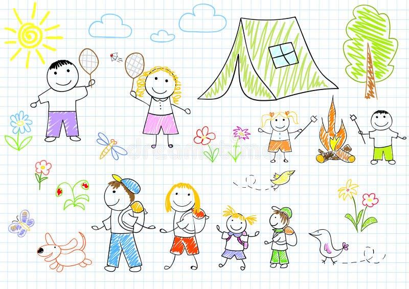 Familia feliz en acampar stock de ilustración