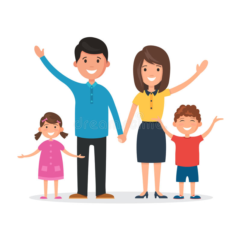 Familia feliz en blanco stock de ilustración