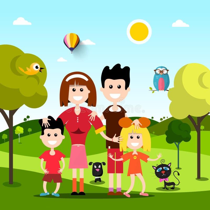 Familia feliz en campo con los animales de animales domésticos ilustración del vector