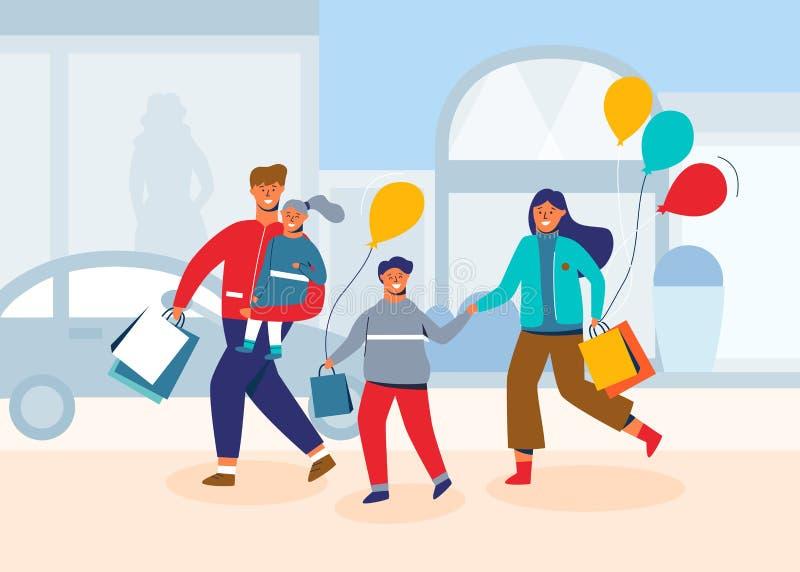 Familia feliz en compras Padre, madre y niños con los bolsos y las compras Caracteres de la gente en la alameda, tienda stock de ilustración