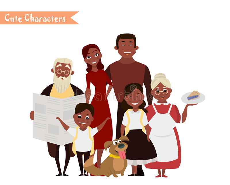Familia feliz en el fondo blanco libre illustration