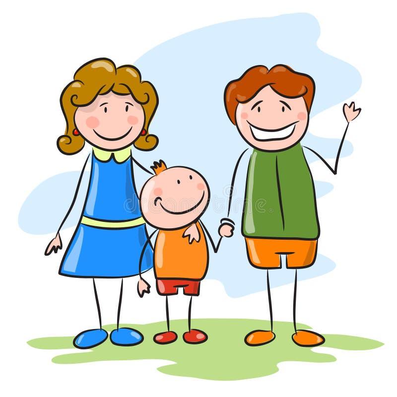 Familia feliz en el fondo del cielo. libre illustration