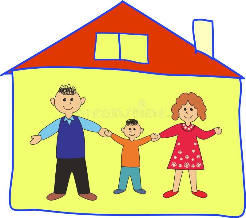 Familia feliz en el hogar. libre illustration