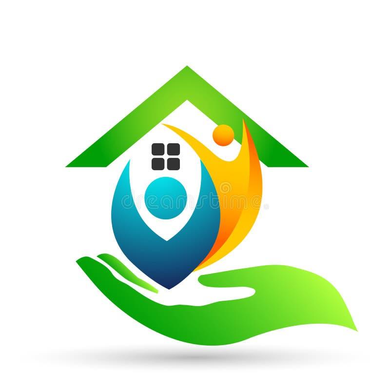 Familia feliz en el logotipo casero de la unión, familia, padre, niños, amor verde, parenting, cuidado, vector del diseño del ico libre illustration