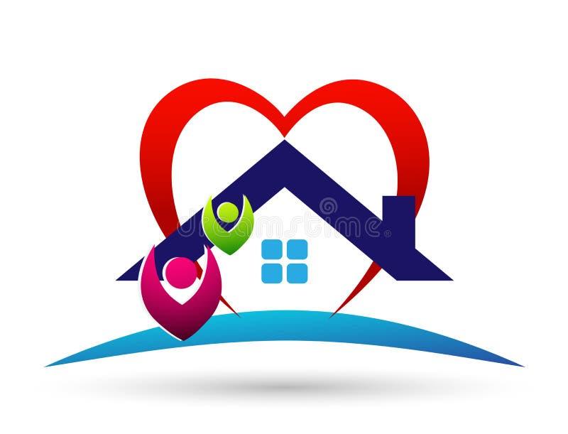 Familia feliz en el logotipo casero de la unión, familia, padre, niños, amor verde, parenting, cuidado, vector del diseño del ico stock de ilustración