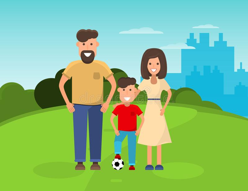 Familia feliz en parque Madre, padre y muchacho con el balón de fútbol Ejemplo plano libre illustration