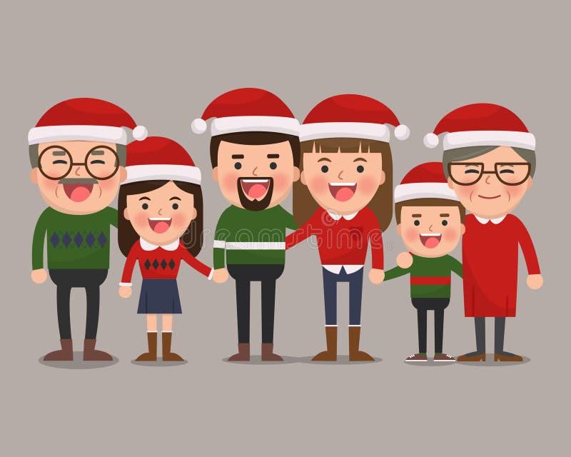 Familia feliz en sombreros de la Navidad stock de ilustración