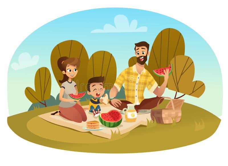 Familia feliz en una comida campestre El papá, mamá, hijo está descansando en naturaleza Ejemplo del vector en un estilo plano stock de ilustración