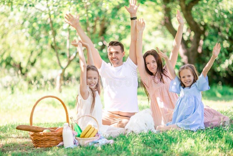 Familia feliz en una comida campestre en el parque en un d?a soleado imagen de archivo libre de regalías