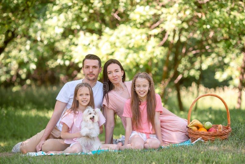 Familia feliz en una comida campestre en el parque en un d?a soleado imágenes de archivo libres de regalías