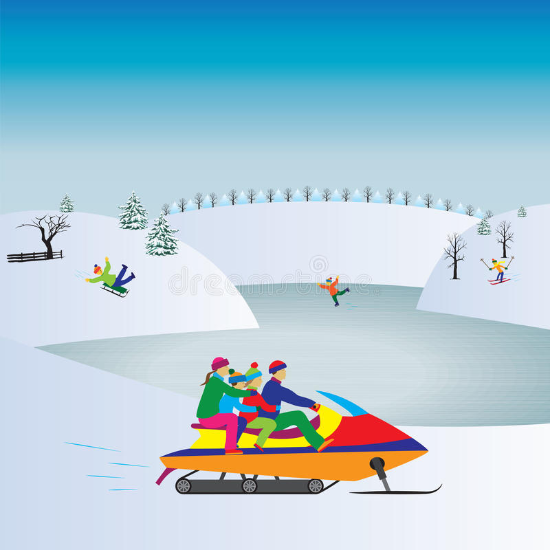 Familia feliz en una moto de nieve Vacaciones del invierno Familia activa stock de ilustración