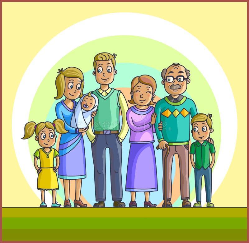 Familia feliz grande Padres con los niños libre illustration
