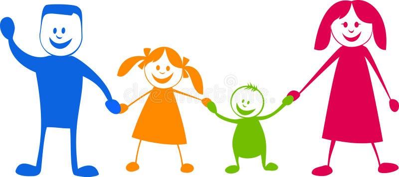 Familia feliz. Ilustración de la historieta stock de ilustración