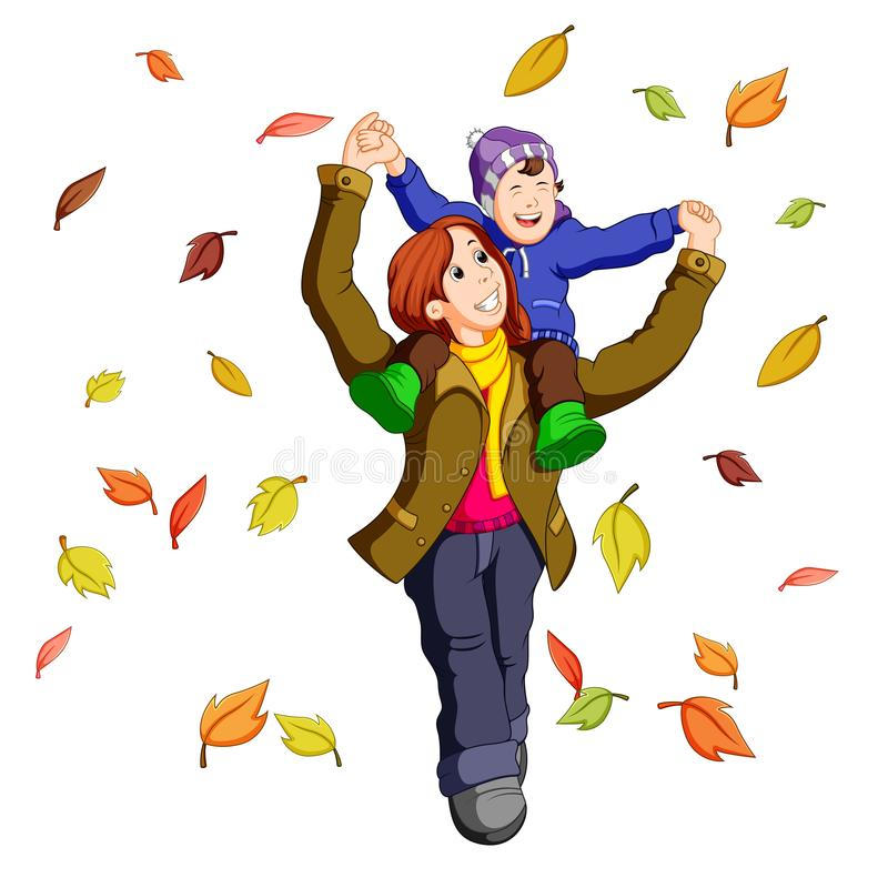 Familia feliz junto el otoño que juega con las hojas libre illustration