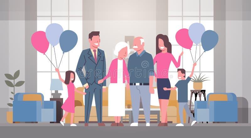 Familia feliz junto que saluda el abuelo y a la abuela con día de los abuelos libre illustration