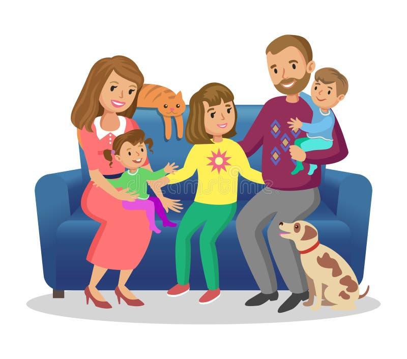Familia feliz Padre, madre, hijo e hijas junto Vector libre illustration
