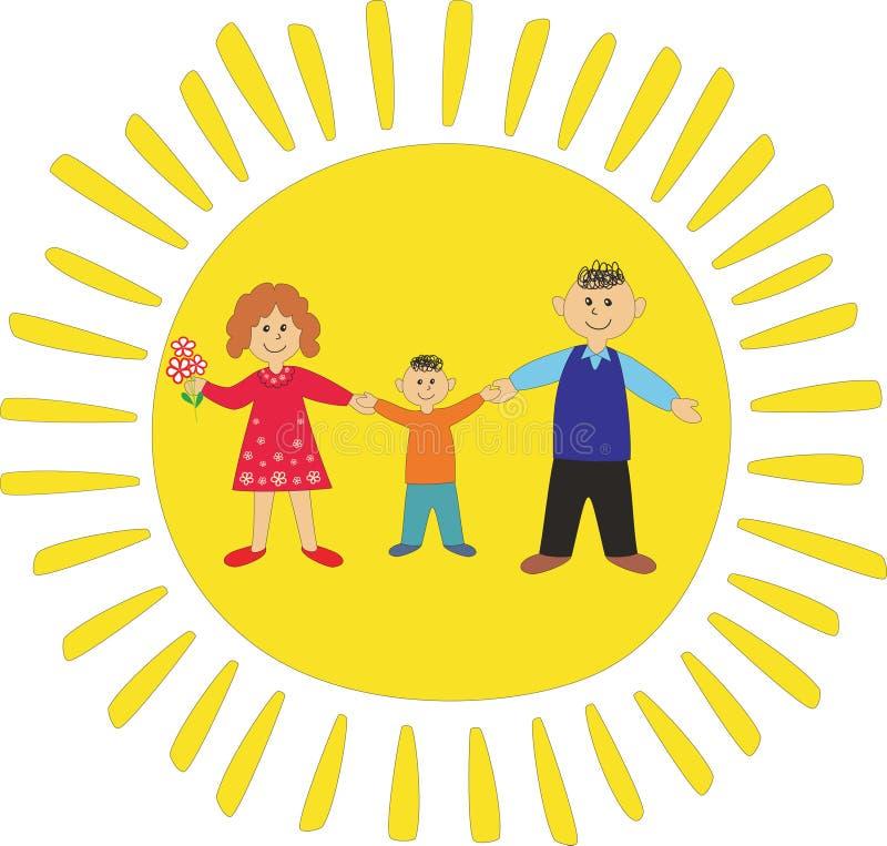 Familia feliz: papá, momia e hijo ilustración del vector