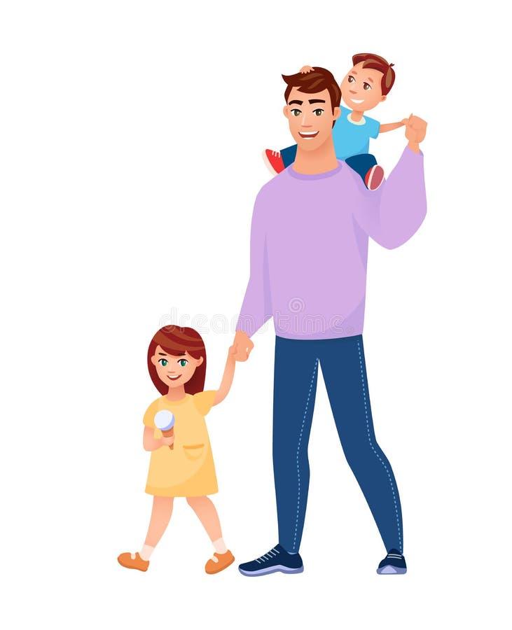 Familia feliz que camina Ejemplo del vector del estilo de la historieta stock de ilustración
