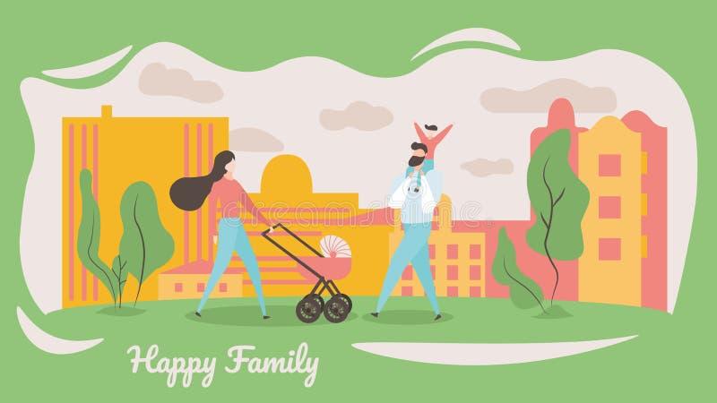 Familia feliz que camina en la calle de la ciudad Mujer y ni?o ilustración del vector