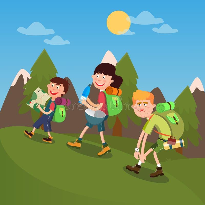 Familia feliz que camina en las montañas stock de ilustración