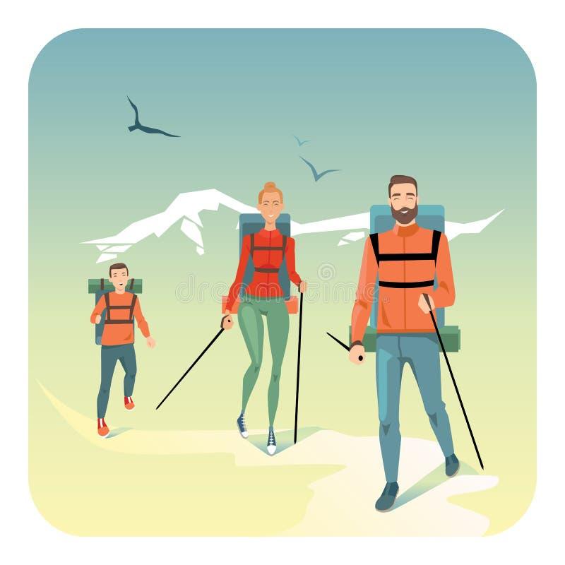 Familia feliz que camina en montañas ilustración del vector