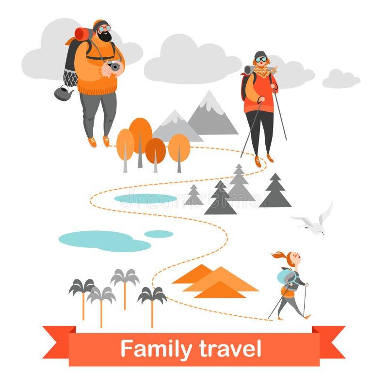 Familia feliz que camina junto Gente en el fondo del paisaje ilustración del vector