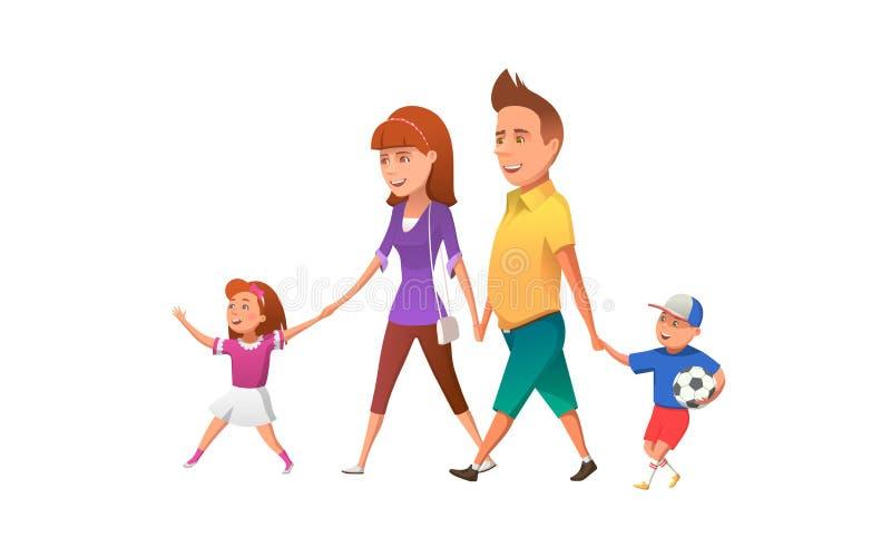 Familia feliz que camina junto Vector el ejemplo de padres felices con los niños que caminan junto y que se divierten stock de ilustración