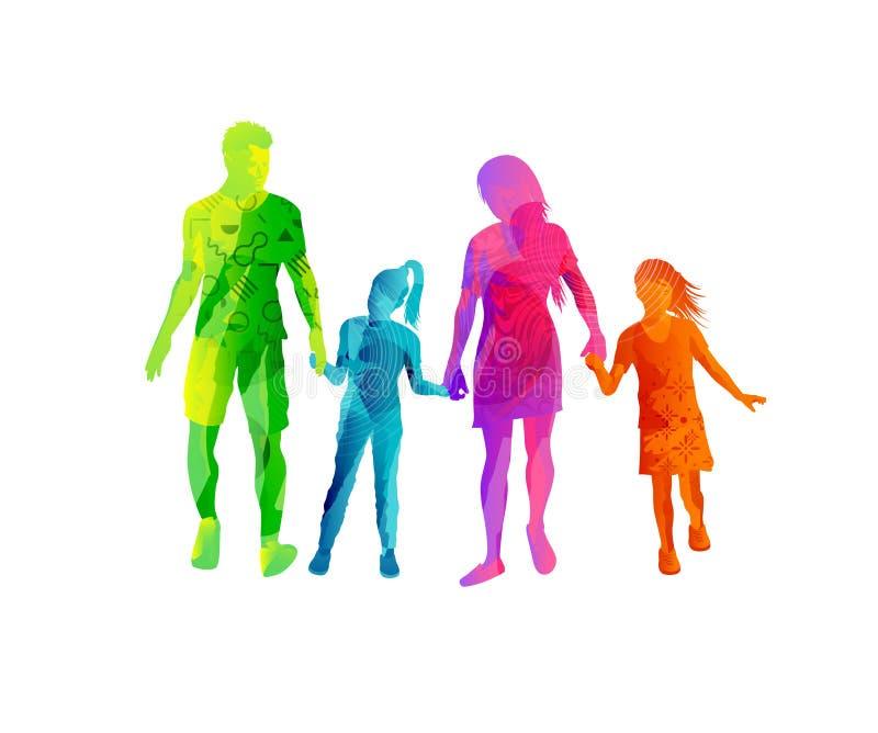 Familia feliz que camina y que lleva a cabo las manos stock de ilustración