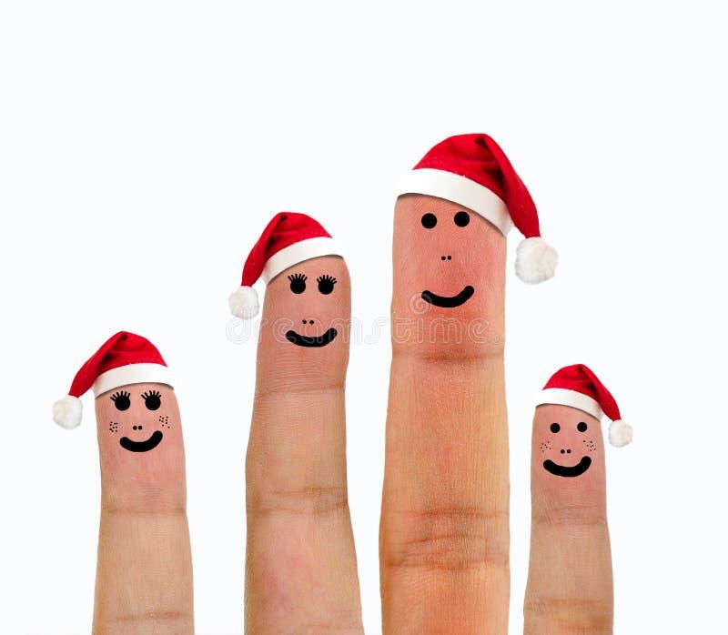Familia feliz que celebra Navidad imágenes de archivo libres de regalías