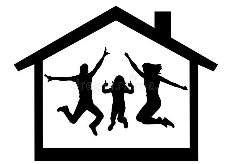 Familia feliz que compra una silueta de la casa ilustración del vector