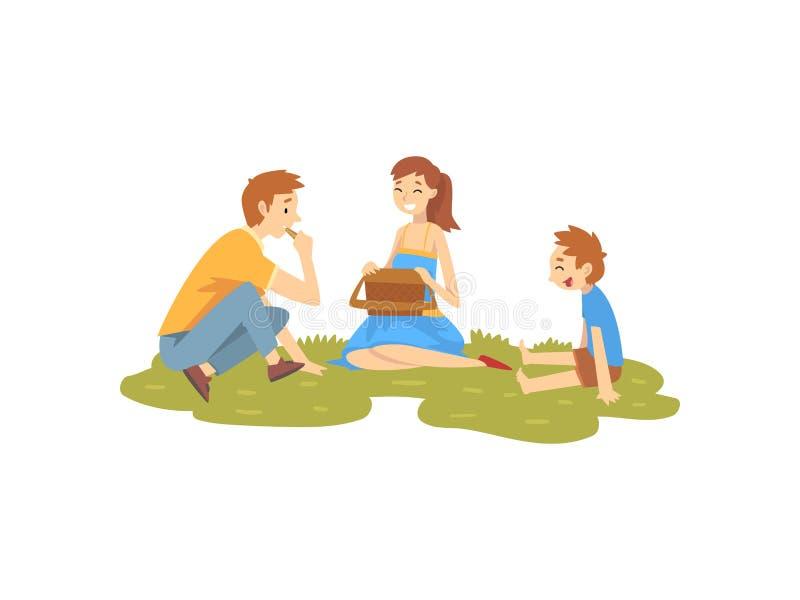 Familia feliz que descansa sobre la hierba, el padre, la madre y el hijo teniendo comida campestre en parque, vector de las activ ilustración del vector