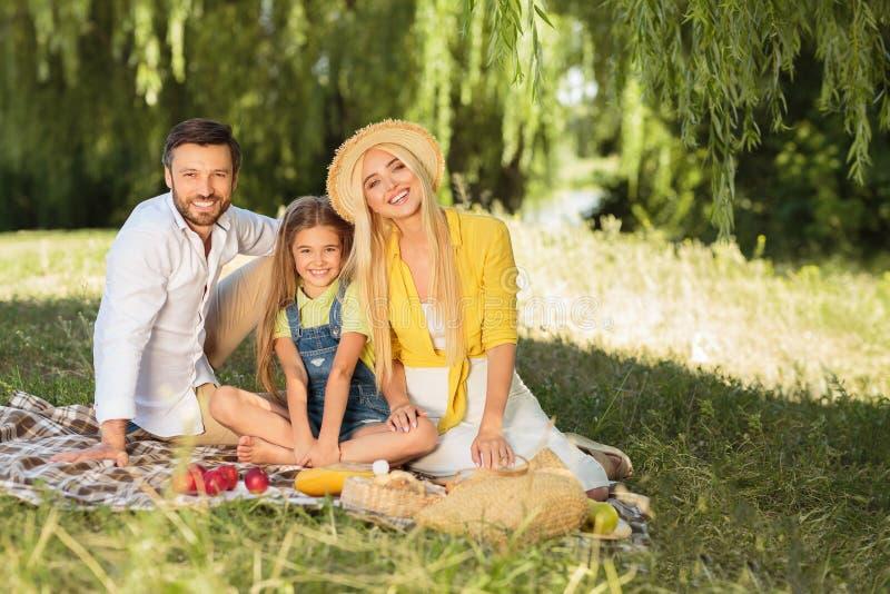 Familia feliz que disfruta de comida campestre en la naturaleza, espacio de la copia imagenes de archivo