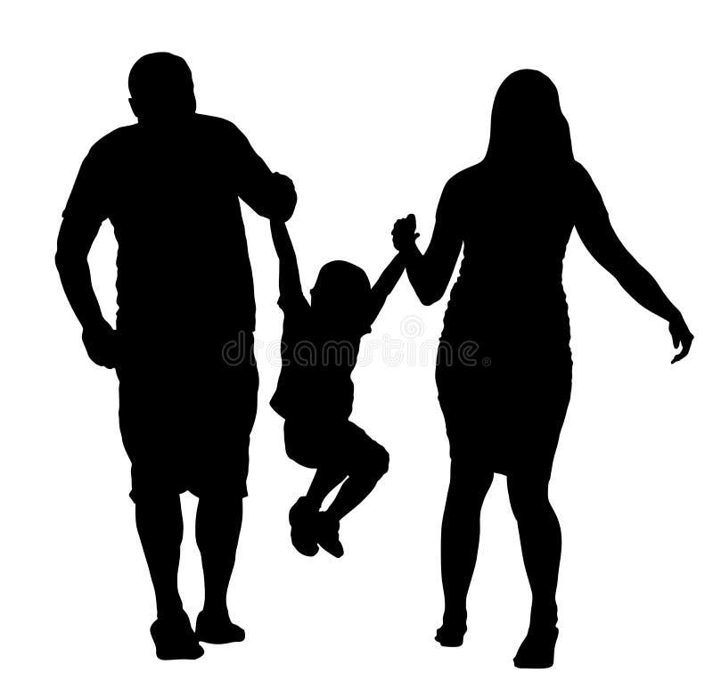 Familia feliz que goza en el ejemplo de la silueta del vector que camina Madre y padre que llevan a cabo las manos con su hijo stock de ilustración
