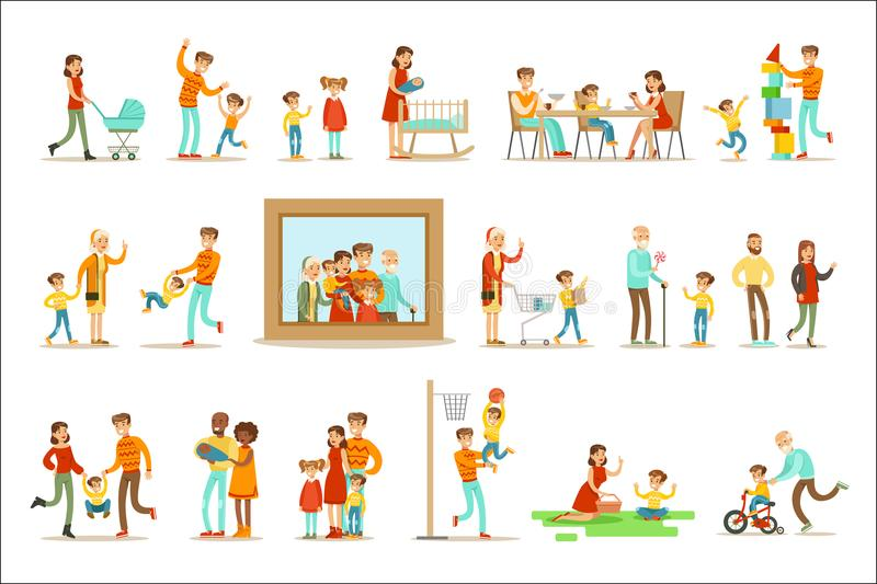 Familia feliz que hace la imagen grande circundante del retrato del ejemplo de las cosas junto ilustración del vector