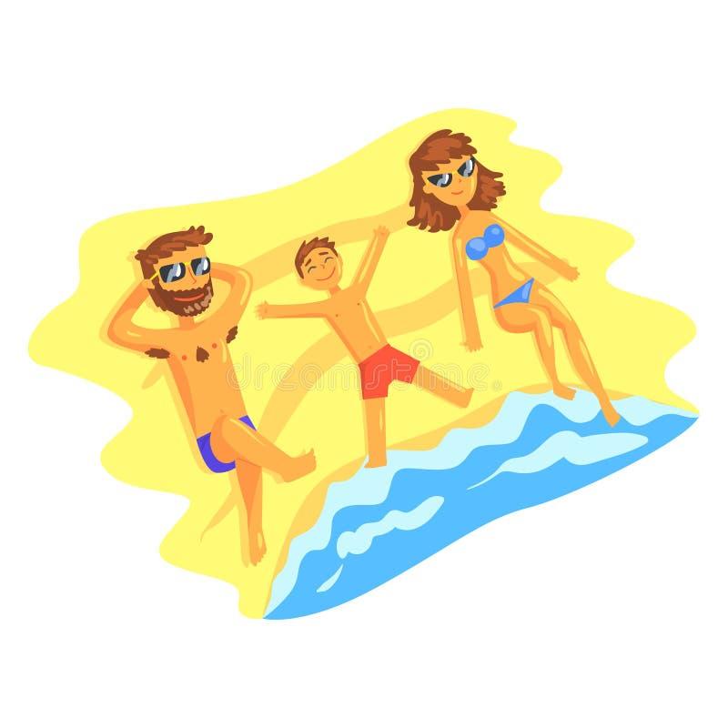 Familia feliz que miente en la playa y que toma el sol en el ejemplo del vector de las vacaciones de verano libre illustration