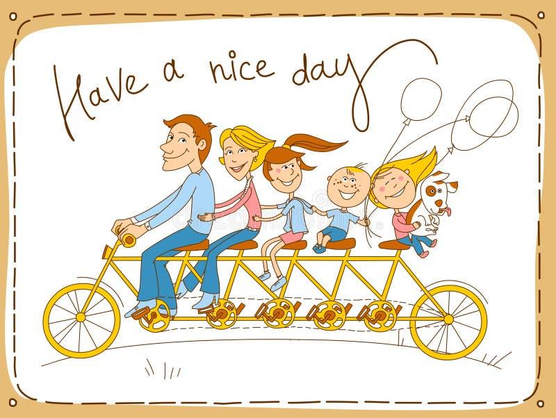 Familia feliz que monta una bicicleta en tándem stock de ilustración