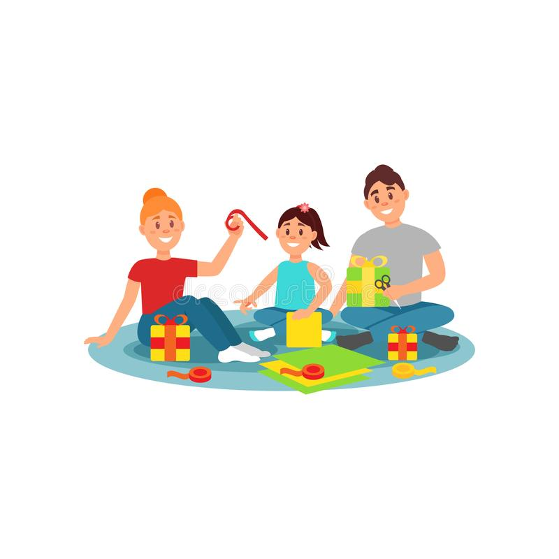Familia feliz que prepara los regalos para el día de fiesta Actividad de la familia Diseño plano colorido del vector libre illustration