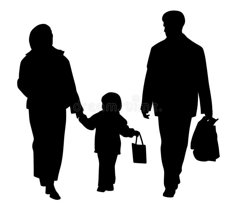 Familia feliz que recorre con los bolsos de compras ilustración del vector