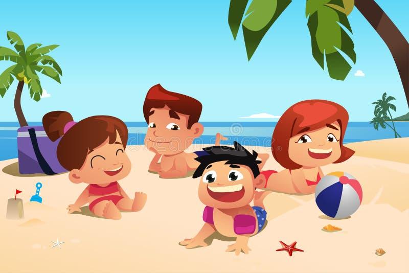 Familia feliz que se divierte en la playa libre illustration