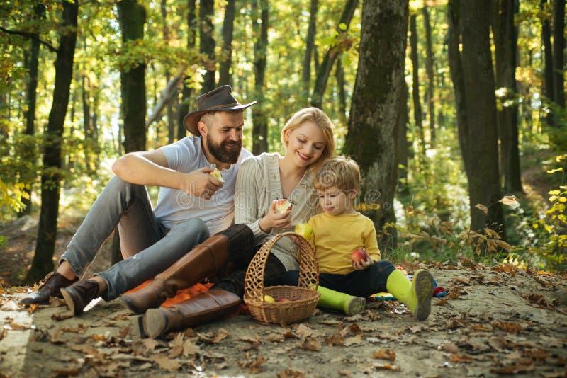 Familia feliz que se divierte en parque del otoño Mamá e hijo del papá que juegan junto Familia feliz con pasar el tiempo al aire fotografía de archivo libre de regalías