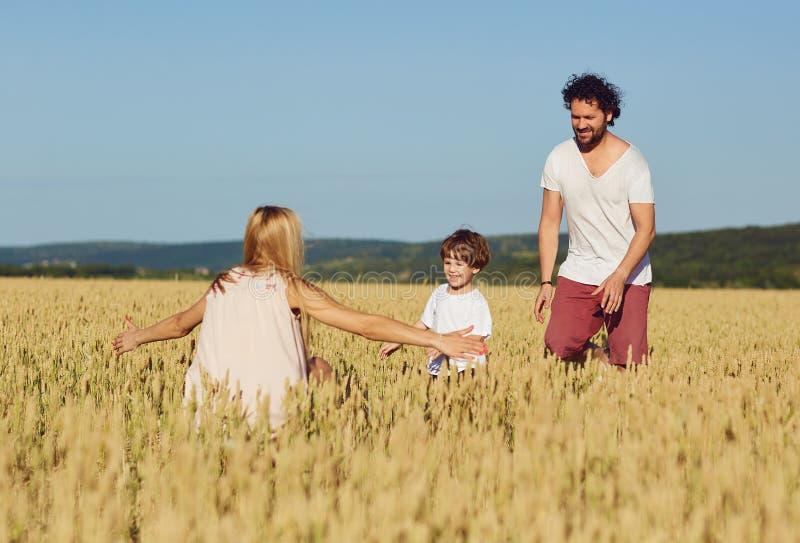 Familia feliz que se divierte que juega en el campo imágenes de archivo libres de regalías