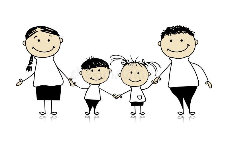 Familia feliz que sonríe junto, bosquejo de drenaje ilustración del vector