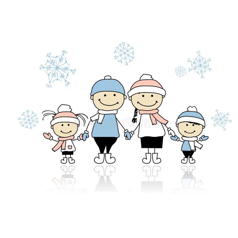 Familia feliz que sonríe junto, día de fiesta de la Navidad stock de ilustración