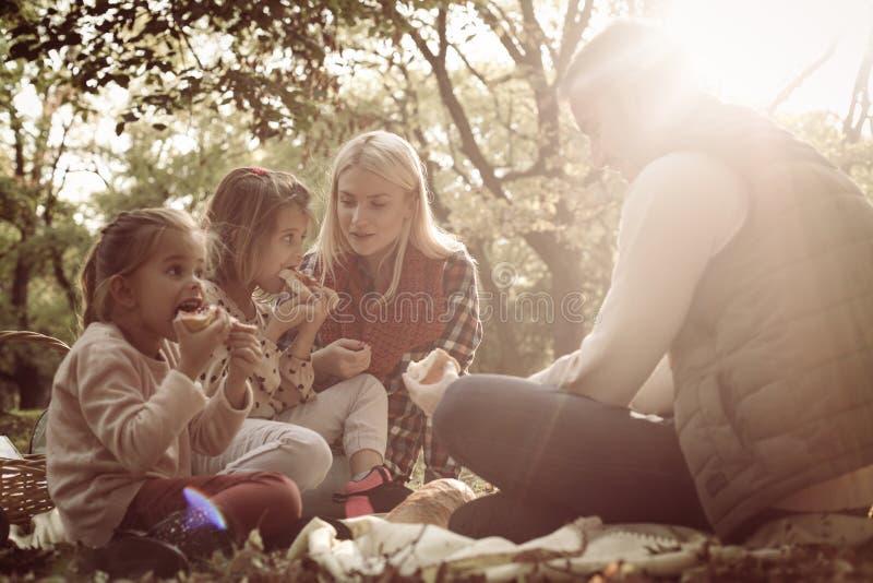 Familia feliz que tiene comida campestre junto en parque imagenes de archivo