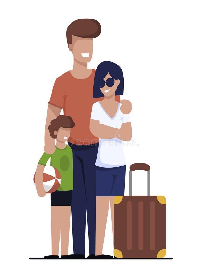 Familia feliz que va de vacaciones casa de alquiler de la búsqueda ilustración del vector